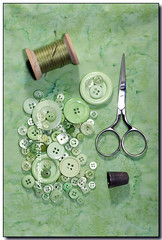 Green Sewing Supplies (Lisa-S) Tags: 3114 green scissors buttons thread needle thimble brampton ontario canada copyright2012lisastokes lisas sewing spool fabric batik invited getty2012 getty20120405 flickropen sewingbuttons clothingbuttons craftbuttons