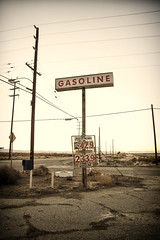 long distances between (Maureen Bond) Tags: ca signs corner closed empty nowhere numbers wires intersection poles gasoline mojavedesert interestingplace lastgas maureenbond