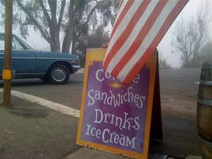 american sandwich (misterbigidea) Tags: california morning inspiration signs sign mercedes benz restaurant hand purple flag board foggy delta sandwich font type americana lettering roadside scenics attraction caughtmyeye stuffilike