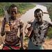 painted Karo warriors in Kolcho on the Omo River, Ethiopia
