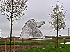 The Kelpies - monuments to equine history at the Helix Park in HDR (penlea1954) Tags: park city horses horse tower heritage history andy monument scott coast scotland clyde canal edinburgh skin lock gates glasgow district steel central east forth heads helix hdr stainless equine sculpted powered falkirk the kelpies