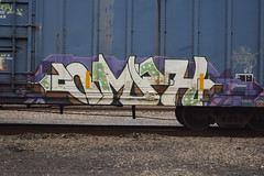 NMPH (TheGraffitiHunters) Tags: street brown white black green art car train graffiti colorful paint purple box tracks spray boxcar freight benched benching nmph