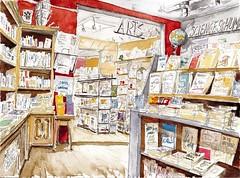 La Rochelle, Librairie Les Saisons (Croctoo) Tags: croctoo croctoofr croquis librairie boutique larochelle aquarelle bouquins watercolor livre bouquin