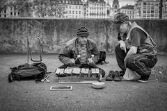 Master And Apprentice... (YVON B) Tags: street portrait people urban musician france monochrome blackwhite artist fuji lyon candide xpro2