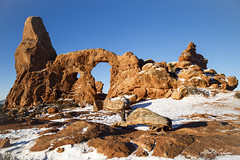Turret Arch (Alfred J. Lockwood Photography) Tags: morning winter snow nature landscape utah nationalpark sandstone moab archesnationalpark clearsky rockformation turretarch alfredjlockwood
