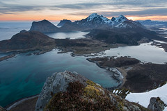 Watching the World Beneath (Danil) Tags: ocean morning travel sky mountain snow ice beach water norway sunrise landscape island spring high view daniel arctic destination lofoten bosma leknes atlanticpeak flakstadoya offersoykammen