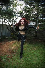 The Sinister Blade (ii) (sarah-sari19) Tags: autumn woman fall girl leather outside costume october cosplay sinister makeup redhead blade knives redhair scar katarina leatherjacket assassin leagueoflegends thesinisterblade