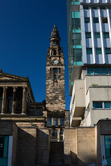 Almost surrounded (Lucky Poet) Tags: tower clock church architecture modern scotland glasgow steeple bothwellstreet stvincentstreet greekthomson
