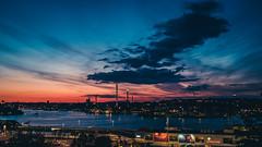 Dog walk with a view (Christopher Anderzon) Tags: sky skyline clouds sweden stockholm sdermalm dusk midnight fujifilm sverige grnalund themepark djurgrden x100t