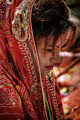 A beautiful praying women at the Sosthani festival in Shankhu, Nepal. (SUNA_PHOTOGRAPHY) Tags: nepal people blackandwhite bw monochrome nikon women praying hindu sari nepali earthquak sosthanifestival shankhy