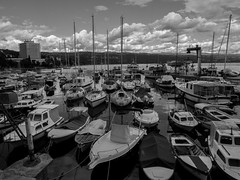 Harbour of Opatija, Croatia (Daniel C. Brunner) Tags: bnw blackandwhite bw blackwhite harbour opatija boat monochrom mono mft microfourthirds lumixg l