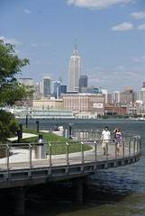 Park built over Hudson River in Hoboken, New Jersey. (dkjphoto) Tags: park nyc newyorkcity railroad travel bridge usa newyork tourism water station skyline america skyscraper river pier boat newjersey tour unitedstates walk manhattan tourist walkway empire northamerica empirestatebuilding wtc hudson hoboken dennisjohnson wwwdenniskjohnsoncom