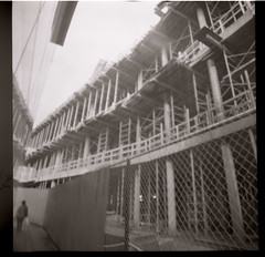 half built (Beaulawrence) Tags: street camera winter urban white canada black building classic 120 film lines station architecture vancouver analog vintage square lens fantastic lomo lomography construction bc grain perspective columbia richmond scan retro plastic negative diana aberdeen f repetition roll british medium format february feb build narrow remake reproduction greyscale 2011 sooc