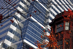 Something Old Something New (Ian Sane) Tags: park street new old trees red tower simon leaves oregon buildings portland ian photography downtown apartments branches images architectural helen fox taylor and sw director avenue admiral something 1929 1909 sane wheeldon
