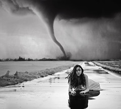 what if this storm ends? (AmyJanelle) Tags: blackandwhite white inspiration snow storm black reflection girl rain hair photography dress wind twister tornado gaze songs snowpatrol songlyrics aesthetic whatifthisstormends windblowinghar