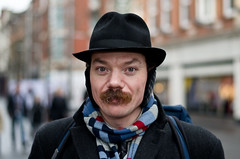 Darren (19/100) (drmaccon) Tags: portrait hat darren scarf prime nikon leicester streetphotography streetportrait moustache streetphoto quirky 50mmprime 100strangers sb700 d5100