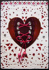 ATC946 - Steampunk heart 4 (tengds) Tags: white atc collage heart corset string papercraft darkred steampunk handmadecard steampunkheart tengds japanesedoily