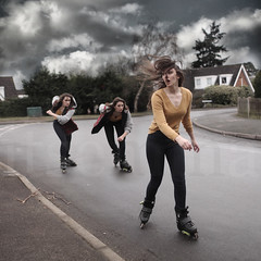 The Chase (ItsEmma) Tags: trees light portrait sky cloud selfportrait tree girl clouds self square cloudy cloning emma evil multiplicity skate clones angry chase roller multiple skater mean clone skates squarecrop multi nasty rollerskate thechase multiply itsemma emmareid squareexpand