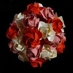 Fukuyama, Toshikazu Kawasaki (Aneta_a) Tags: pink red flower rose origami cream kawasaki modularorigami kusudama toshikazukawasaki icosahedralsymmetry simplepaper