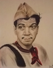 Mexican actor and comedian Mario Moreno as Cantinflas (fitzjim) Tags: portrait celebrity mexico comedy artist drawing pastel famous rollerderby mexican spanish hollywood latin movies comedian actor catholicchurch pepe cantinflas legend cartoons bombers role orphanages charliechaplin romancatholicchurch hannabarbera televisa aroundtheworldin80days folkhero mariomoreno davidniven columbiapictures jimfitzpatrick goldenglobeaward fortinomarioalfonsomorenoreyes elbomberoatomico