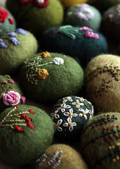 stitches on wool (lilfishstudios) Tags: flowers art wool rocks stones embroidery craft fiberart rockgarden embroidered lisajordan texturalstones springstones feltedwoolstone