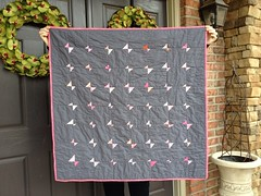 pink and gray bowtie baby quilt (kitkabbit) Tags: pink modern butterfly quilt gray bowtie gift quilting patchwork 2012 babyquilt filminthefridge