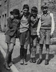 The Gang (theirhistory) Tags: boy child outdoors cap jumper jacket pullover tanktop shorts wellies socks shoes schoolboy england primary junior uk gb class form school pupils students education