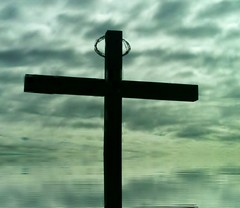 """This Monent Contains All Moments"" (Hopefaithandlove2014~Walk by Faith, Not by Sight~) Tags: sky reflection water clouds dark easter wooden amazing cross jesus thankful hanging crown thorns upward goodfriday"