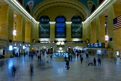 NY Grand Central Station (adeschenes) Tags: longexposure ny newyork architecture movement blurry manhattan trainstation grandcentralstation informationdesk ticketcounter 2011