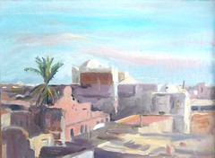 Tozeur, view from a cafe (tadeusz dergowski) Tags: urban art painting sketch desert northafrica tunisia tunis arabia expressionism impressionism islamic oilpaint douz sfax pleinair tozeur matmata pochade
