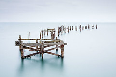 Swanage Old Pier (paulsflicker) Tags: wood old motion water 30 bay pier solitude slow timber 10 110 tranquility scene stop dorset nd shutter poles posts milky isle swanage tranquil dorchester poole purbeck stopper absence 10x x1000 nd110