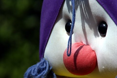 The Clown (Kerry711) Tags: red white wool bag nose purple sony clown alpha peg a390