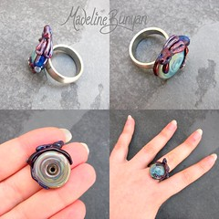"""Burgundy Glass Bunny - Interchangeable Lampwork Ring Top • <a style=""""font-size:0.8em;"""" href=""""https://www.flickr.com/photos/37516896@N05/7038232191/"""" target=""""_blank"""">View on Flickr</a>"""