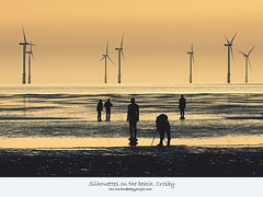 Silhouettes on the beach. Crosby (Ianmoran1970) Tags: sea beach liverpool sand waves shadows wind silhouettes windfarm crosby turbines windturbines sillouettes ianmoran burbobank ianmoran1970