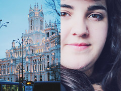 94/365 - New World (Joana C.A.T. Cardoso) Tags: madrid new city travel pink portrait sky woman color macro bus girl night project twilight spain eyes diptych close emotion capital double human 365 cibeles expresion smle 365project joanacardoso