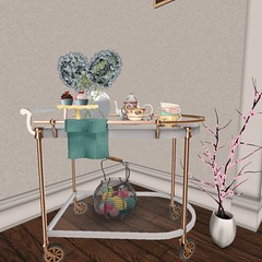 Easter 2014   Tea Cart with egg basket (Hidden Gems in Second Life (Interior Designer)) Tags: party art fall home cakes apple loft easter design spring junk gallery tea sweet interior treats free funky next what chic decor floorplan dreamscapes the shabby freebies hunts