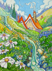 Mountain Memories Storybook Cottage Series (cottagelover1953) Tags: flowers mountain daisies vintage cabin wildflowers storybook watercolorpainting watercolorlandscape originalwatercolorpainting redroofcottage