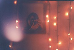 (Mara_N) Tags: zorki camera pink light selfportrait film analog 35mm lights mirror room 4 lamps analogue