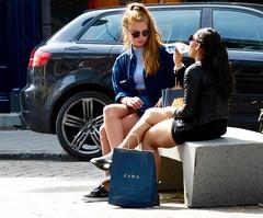 The bag . (Franc Le Blanc .) Tags: girls people bag lumix sitting candid drinking panasonic sit streetphoto seated shertogenbosch