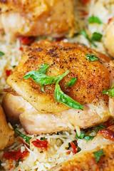 One-Pan Chicken Thighs with Sun-Dried Tomato Basil Rice (JuliasAlbum.com) Tags: chicken dinner rice basil parmesan sundriedtomatoes glutenfree