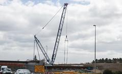 Beams. (HivizPhotography) Tags: road bridge building port airport construction boom aberdeen lattice services global lifting dyce terex demag awpr tc28001