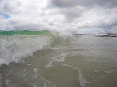 A Day in the Water (L.Grey Photography) Tags: ocean sky beach nature water clouds nc waves outdoor foam wilmington wrightsville seafoam gopro goprohero4