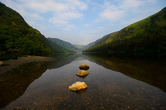 3 rocks and a lake (Costigano) Tags: ireland irish mountain lake nature water canon landscape eos scenery lough outdoor scenic hills glendalough valley wicklow waterscape upperlake