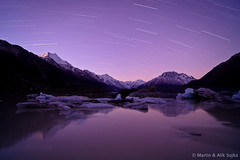 Aoraki Star Trails ~ Mount Cook National Park, New Zealand (Martin Sojka .. www.VisualEscap.es) Tags: newzealand lake night canon star evening trails filter lee mtcook tasman gitzo graduated lightroom mountcook aoraki 2011 zeiss21 5dii distagon2128ze