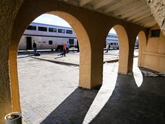 Raton Arcade (Night Owl City) Tags: railroad usa 3 newmexico station raton arcade platform amtrak depot southwestchief atsf missionrevival colfaxcounty