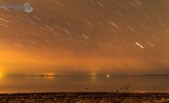 "spiral jetty under the stars (Scott Stringham ""Rustling Leaf Design"") Tags: nature water canon landscape photography utah desert earth salt greatsaltlake lookatme gsl greatbasin stringham spiraljetty inlandsea rozelpoint scottstringham wwwrustlingleafdesigncom itsbigenoughforall"