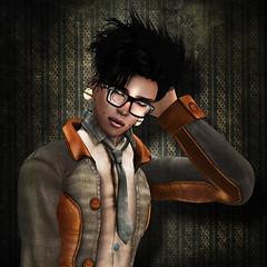 Shy Hipster (ScottyTheBadNewsBear) Tags: nerd glasses grunge hipster tie shy piercing septum gauged