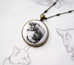 "Pendant ""Cat Washing Paw"" (Abra Kadabra UA) Tags: blackwhite copper accessories brass orientalcat drawingbyhand"