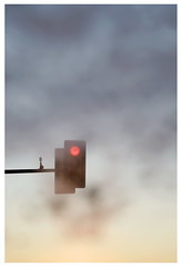Spinnerstown (Michael Ast) Tags: fog sunrise dawn trafficlight suburban pennsylvania suburbia pa stop commute pastels intersection suburbs windshield redlight buckscounty morningfog spinnerstown spinnerstownpa