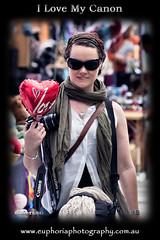I Love My Canon (violetaS_gr PRO(www.euphoriaphotography.com.au)) Tags: street camera red people woman love girl sunglasses digital canon bag lens eos photo day photographer heart bokeh valentine strap euphoriaphotography